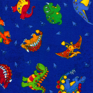 cotton flannel with blue dinos