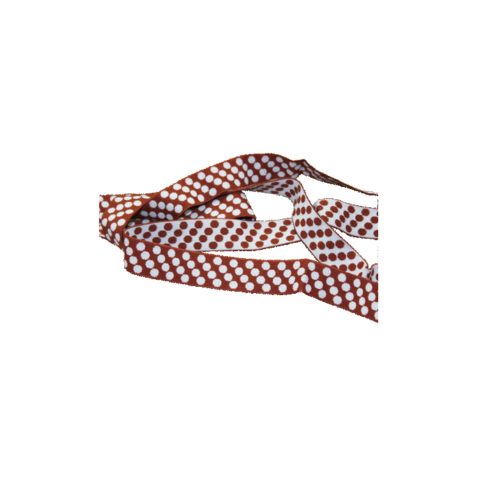 Biais élastique Motif 2.5cm Pois Blanc & Choco (1m)