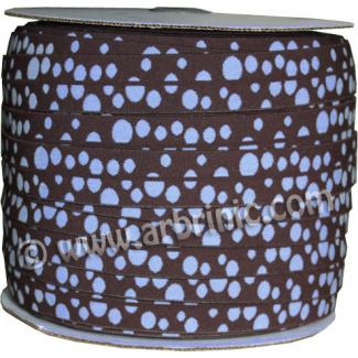 Fold Over Elastic 2.5cm / Choco-Blue Dots (100m roll)