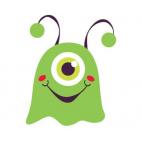 Etiquettes déco - Monstre vert - Lot de 10