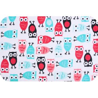 Minky - Owls Watermelon Aqua - Robert Kaufman (per meter)