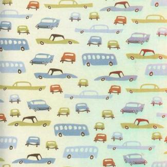 PUL poly print Retro cars width 140cm (per 10cm)
