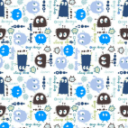 Cotton interlock - Blue Ooga booga (by meter)