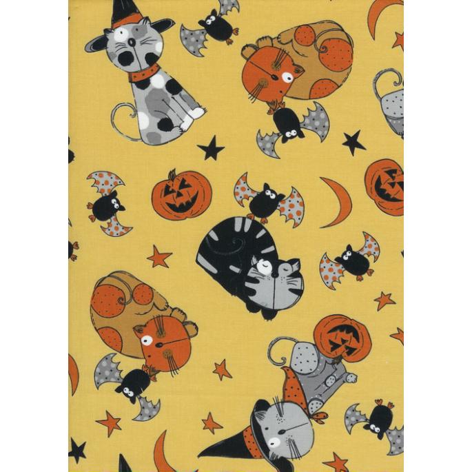 Coton imprimé Chats Halloween Timeless Treasures (par 10cm)