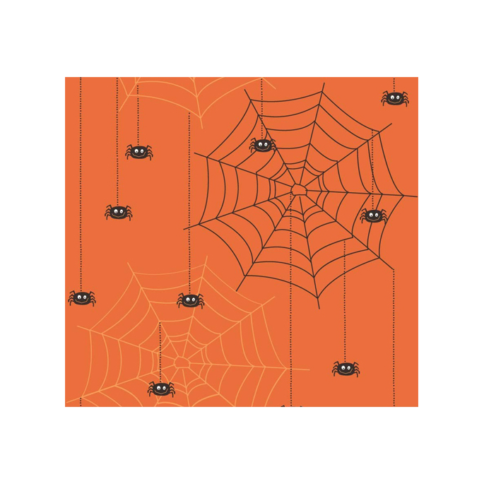 Cotton woven Orange Spiders Riley Blake (per 10cm)