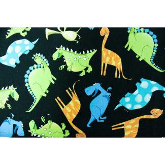 Coton imprimé Dinos noir Timeless Treasure (par 10cm)
