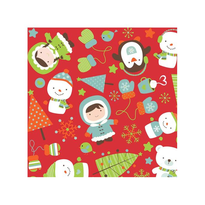 Coton imprimé Noël Rouge Riley Blak (par 10cm)