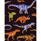 Cotton woven Real Dinos on black Timeless Treasure (per 10cm)