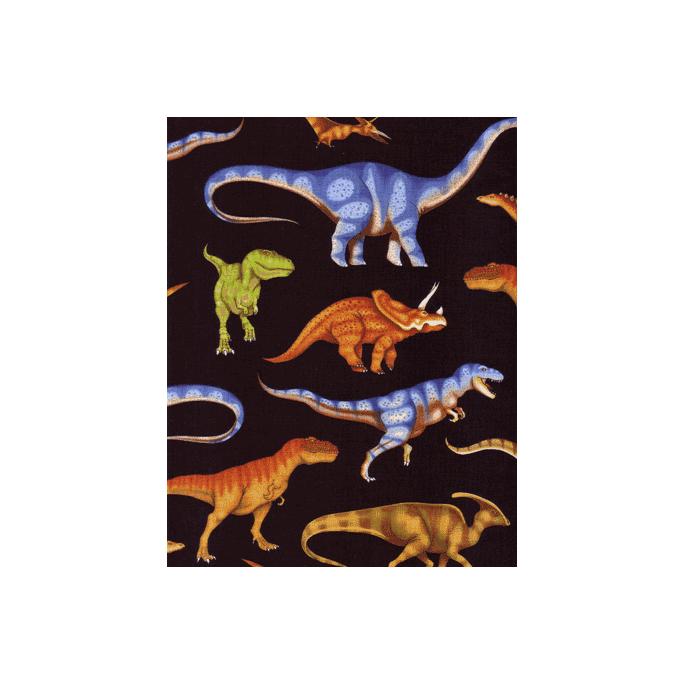 Coton imprimé Dinos réalistes noir Timeless Treasures (par 10cm)