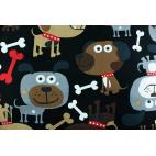 Cotton woven Big dogs on black Timeless Treasure (per 10 cm)