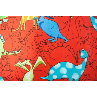 Cotton woven Dinos on red Timeless Treasure (per 10cm)