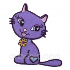 Iron-on Embroidery Patch Purple Cat