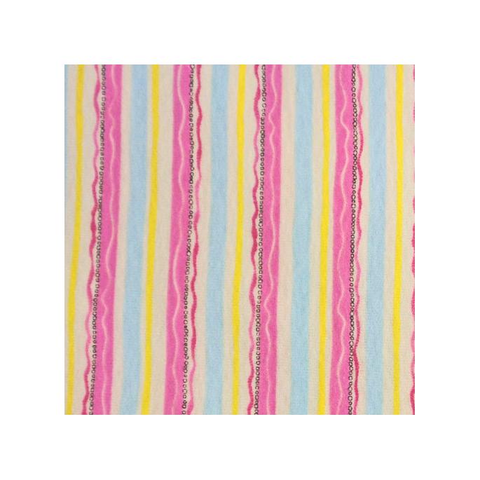 PUL Cotton -yellow pink stripe (50x55)