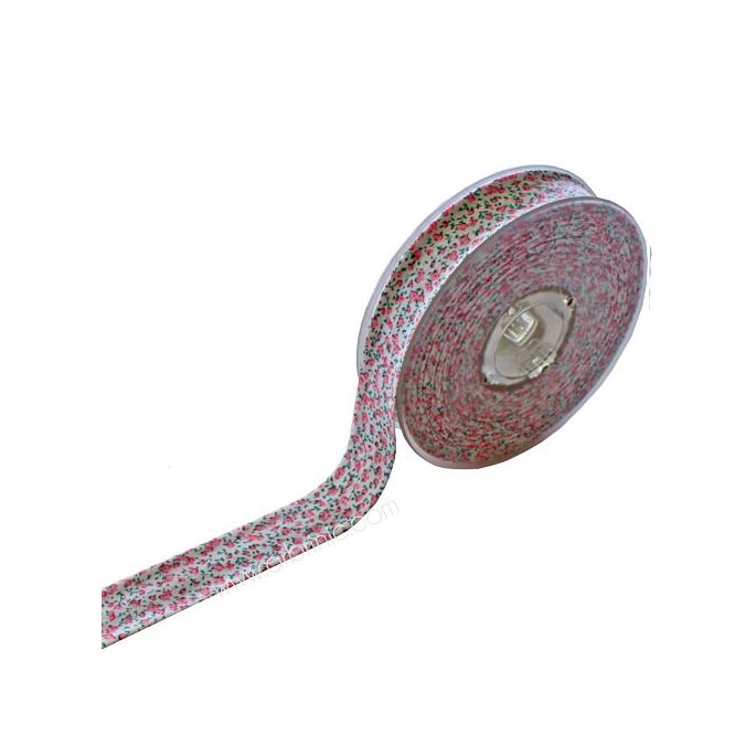 Single Fold Bias Flowers Pink 20mm (10m) 612