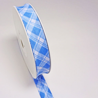 Single Fold Bias Tartan Blue 20mm (by meter)