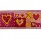 Ruban Jacquard Coeurs Rose 25mm (au mètre)