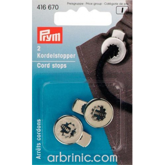 Cord stoppers PRYM metal 1 hole Silver (x2)