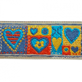 Jacquard Ribbon Hearts Blue 25mm (by meter)