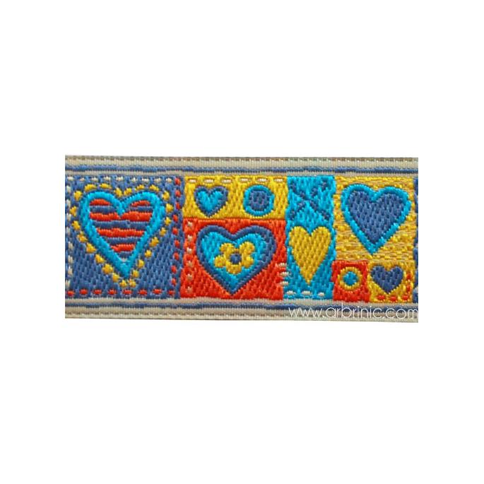 Jacquard Ribbon Hearts Blue 25mm (by meter)