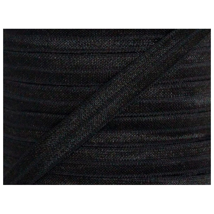 Shinny Fold Over Elastic Oekotex 15mm Black (by meter)