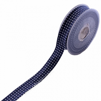 Single Fold Bias Dots White on Navy Blue 20mm (12m roll)