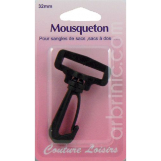 Mousqueton Noir pour sangle 32mm