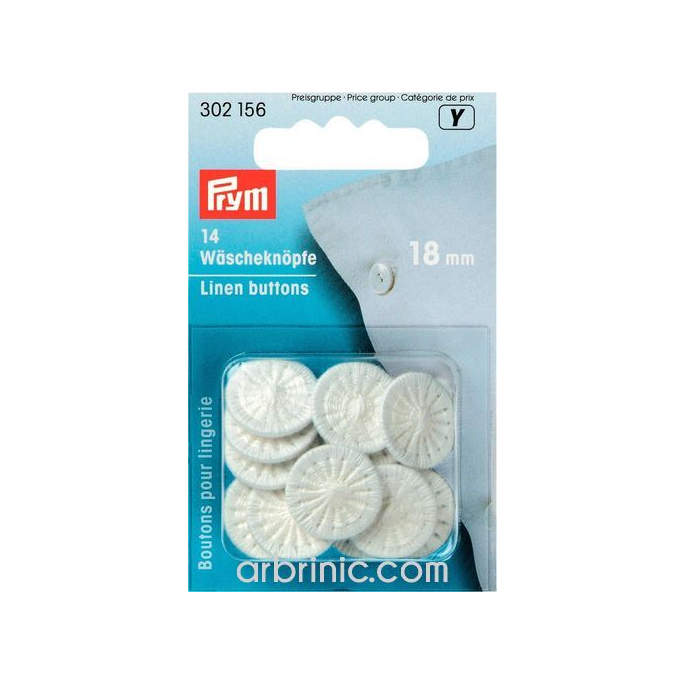Linen Buttons twist 18mm - cotton covered (x14)