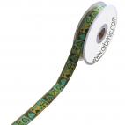 Ruban Jacquard Coeurs Vert 25mm (au mètre)