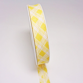Single Fold Bias Tartan Yellow 20mm (by meter)