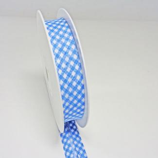 Biais fantaisie Quadrillage Bleu 20mm (au mètre)