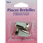 Pince pour bretelles couleur nickelée (x2)