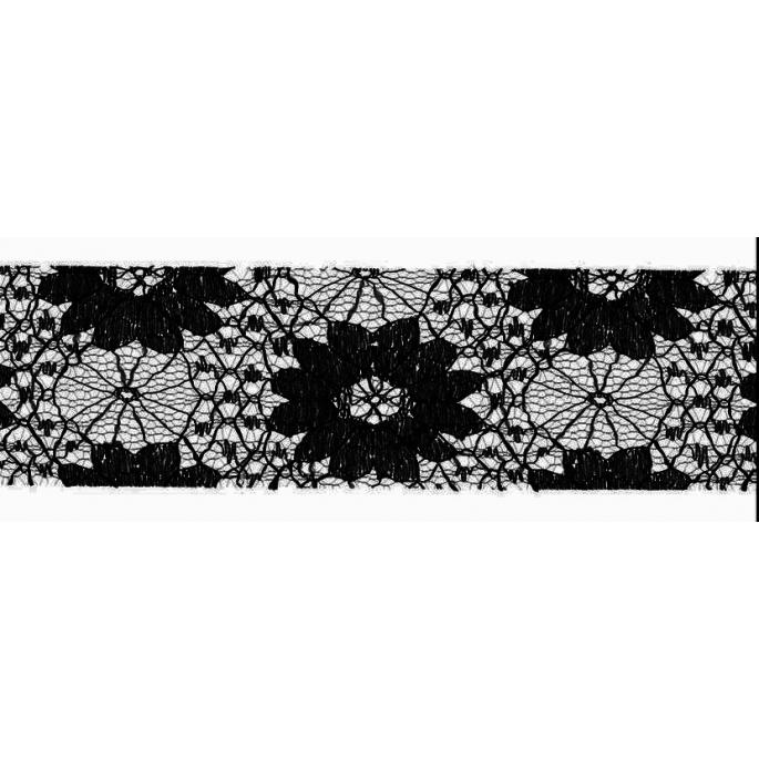 Dentelle Florale 40mm - Noir (au mètre)