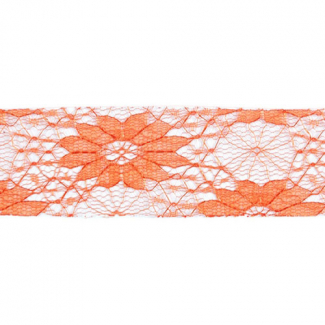 Dentelle Florale 40mm - Orange (au mètre)