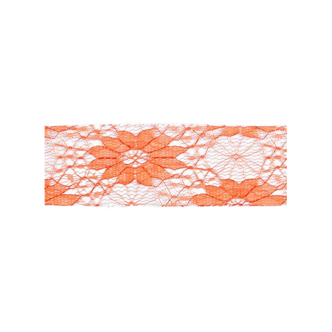 Lace Floral Ribbon 40mm - Orange (by meter)