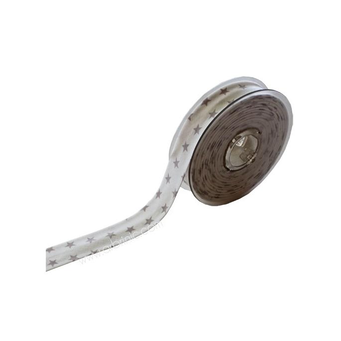 Biais fantaisie Etoilé Gris sur Blanc 20mm (bobine 12m)