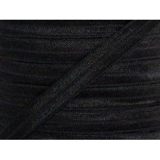 Shinny Fold Over Elastic Oekotex 15mm Black (25m bobin)