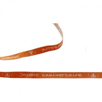 Ruban Jacquard Message - Joyeux Anniversaire 10mm (rouleau 15m)