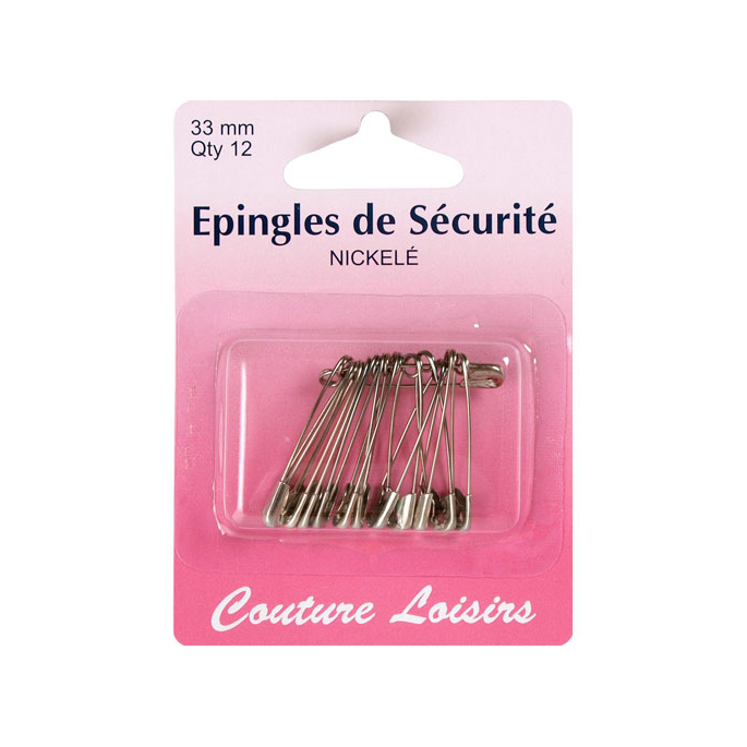 Safety Pins Nickel 33mm (x12)