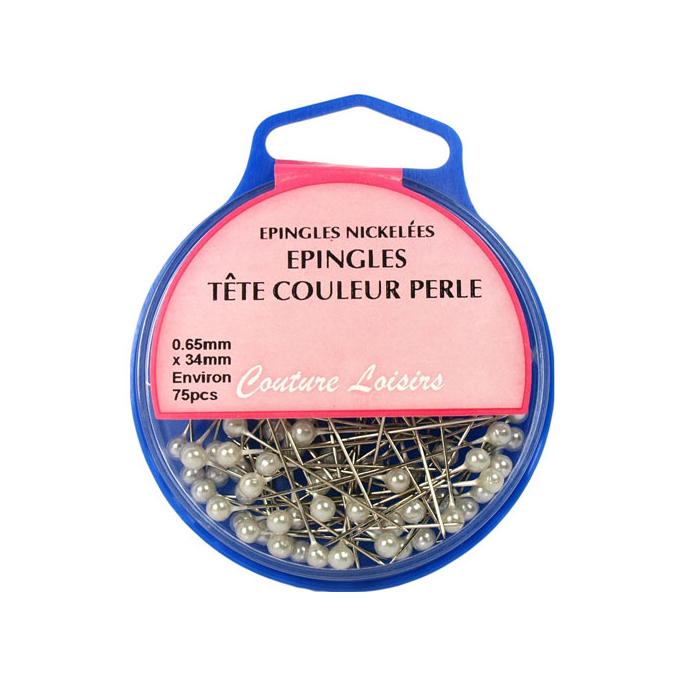 Epingles à Tête Couleur Perle 34mm (x75)