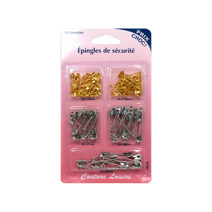 Safety Pins in 5 Assorted sizes and 2 colors (x100)
