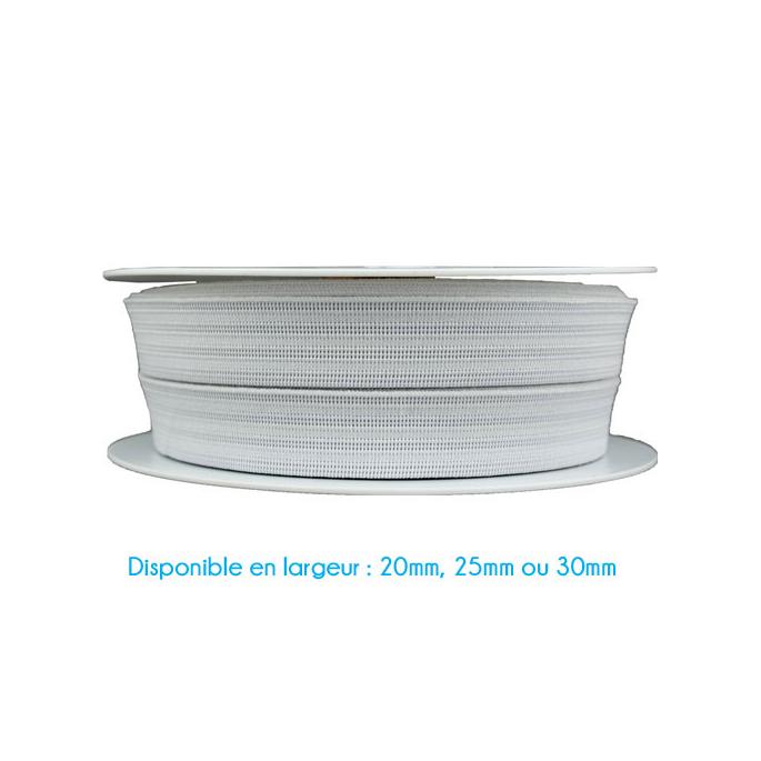 Elastique Gauffré 20mm Blanc (au mètre)