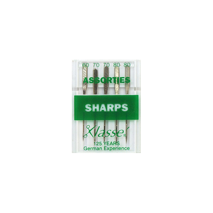 Machine needles Sharp Assorted sizes 60-70-80 (x5)