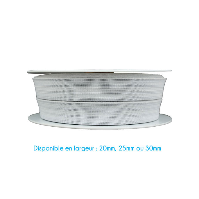 Elastique Gauffré 25mm Blanc (au mètre)
