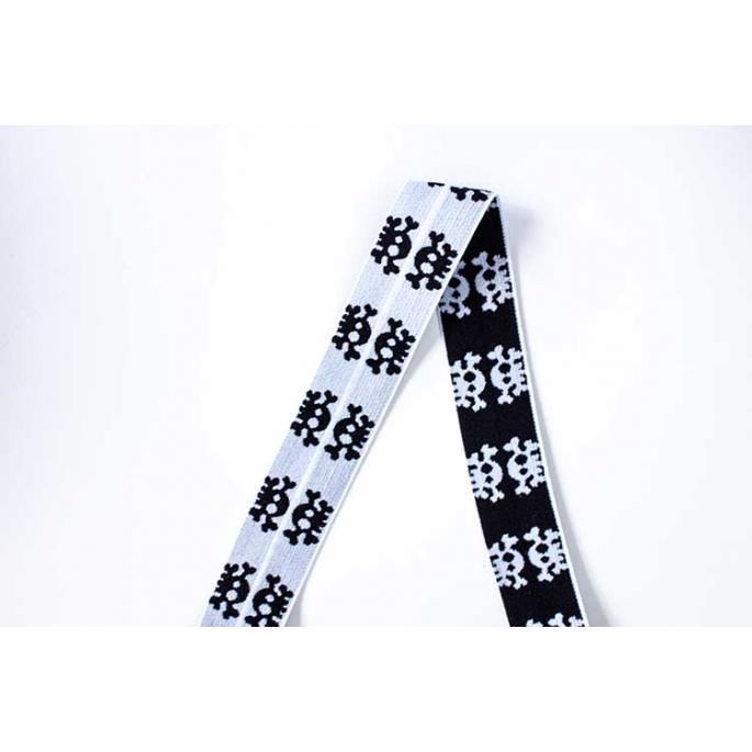 Biais élastique Motif 2.5cm Tête de mort Noir & Blanc (1m)