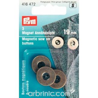 Boutons magnétiques à coudre 19mm Bronze (x3)