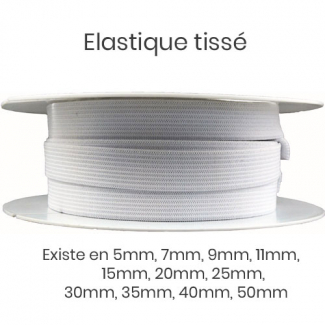 Woven Elastic White 35mm (by meter)