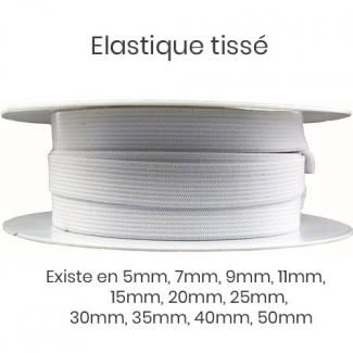 Elastique Tissé 9mm Blanc (au mètre)