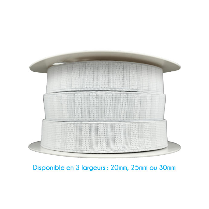 Non-Roll Flat Elastic White 20mm (by meter)