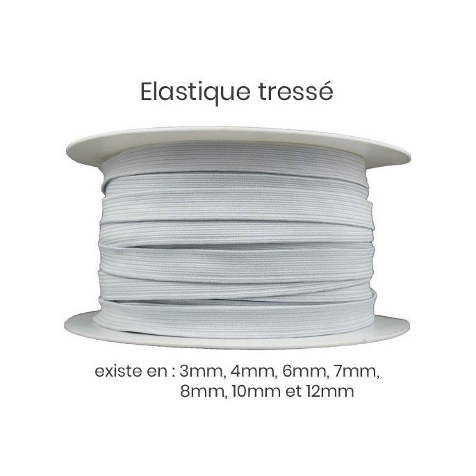Elastique Tressé 12mm 16 gommes Blanc (au mètre)