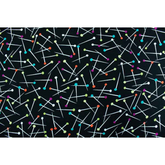 Cotton Print Pin Scatter Black Michael Miller per 10cm